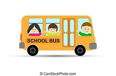 スクールバス, 黄色, 振ること, ∥(彼・それ)ら∥, 手, 子供, 子供
