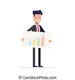 スケジュール, デモをする, eps10., strategy., イラスト, マネージャー, presentation., ベクトル, 手, ビジネスマン, ∥あるいは∥, 最上の人