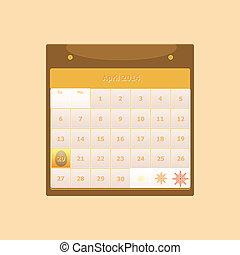 スケジュール, マンスリー, 4 月, デザイン, 2014, カレンダー