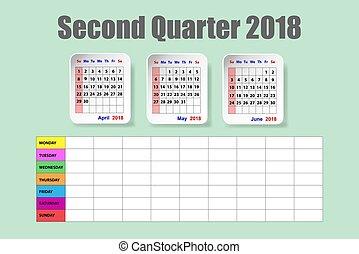スケジュール, 二番目に, 2018, 年, カレンダー, 四分の一, 毎週