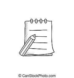 スケッチの パッド, ペン, icon., 執筆