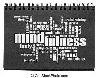 スケッチブック, 黒, 単語, 雲, mindfulness