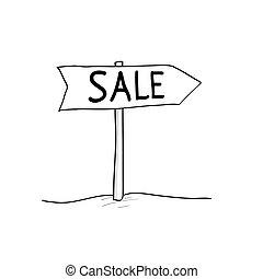 スケッチ, いたずら書き, スタイル, イラスト, sales., ベクトル, ポインター