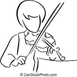 スケッチ, いたずら書き, ライン, 隔離された, イラスト, 手, ベクトル, 黒い背景, バイオリン, 引かれる, 白, 遊び, 女の子