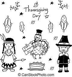 スケッチ, いたずら書き, 感謝祭, アイコン, セット