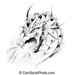 スケッチ, の, 入れ墨, 芸術, ドラゴン
