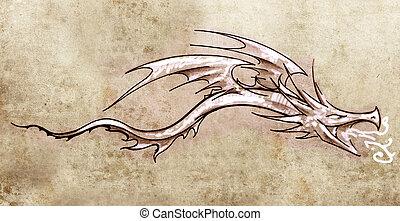 スケッチ, の, 入れ墨, 芸術, 流行, 装飾用である, ドラゴン