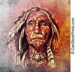スケッチ, の, 入れ墨, 芸術, 肖像画, の, アメリカインディアン, 頭