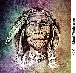 スケッチ, の, 入れ墨, 芸術, 肖像画, の, アメリカインディアン, 頭, 上に, colo