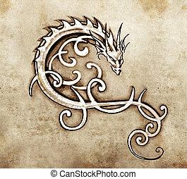 スケッチ, の, 入れ墨, 芸術, 装飾用である, ドラゴン