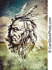 スケッチ, の, 入れ墨, 芸術, indian, 頭, 上に, cropfield, 背景