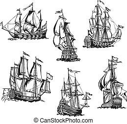 スケッチ, の, 帆船