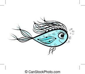 スケッチ, の, 面白い, fish, ∥ために∥, あなたの, デザイン