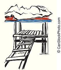 スケッチ, の, bridge., 手, 引かれる, ladder., 風景