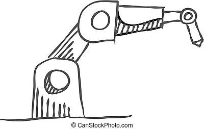 スケッチ, アイコン, ベクトル, 腕, ロボティック, illustration., style., 産業