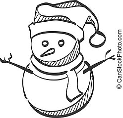 スケッチ, アイコン, -, 雪だるま