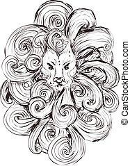スケッチ, アウトライン, 荒い仕事, 隔離された, 定型, バックグラウンド。, ライオン, head., 線, 白, 入れ墨, t-shirts.