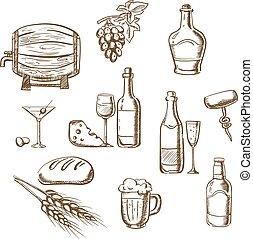 スケッチ, アルコール, 飲み物, スナック