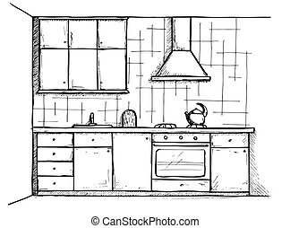 スケッチ, イラスト, ベクトル, cuisine., 計画, 線, style., 台所