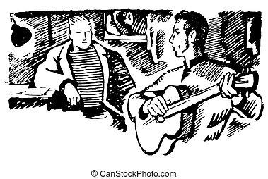 スケッチ, イラスト, 手, ギター, ベクトル, 背景, 引かれる, 白, 人