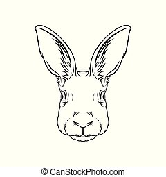 スケッチ, イラスト, 手, ベクトル, 黒い森林, 動物, 肖像画, 引かれる, 白, 頭, ノウサギ