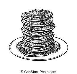 スケッチ, インク, pancakes.