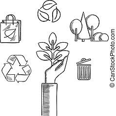 スケッチ, エコロジー, アイコン, 自然, 環境, を除けば