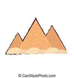 スケッチ, エジプト人, 色, 旅行, ピラミッド, 砂漠