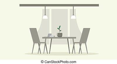 スケッチ, オフィス, いいえ, 椅子, いたずら書き, 現代, 人々, 創造的, 仕事場, 内部, テーブル, co-working, キャビネット, 横, 空