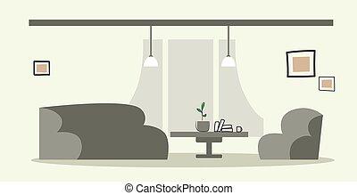 スケッチ, オフィス, いいえ, 肘掛け椅子, 現代, 人々, ソファー, ラウンジ, 区域, いたずら書き, 内部, 横, 創造的, 空