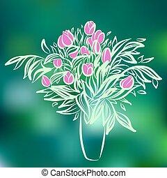 スケッチ, カラフルである, チューリップ, vase., バックグラウンド。, 図画