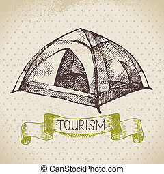 スケッチ, キャンプ, ハイキング, イラスト, 手, バックグラウンド。, 型, 引かれる, 観光事業