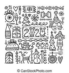 スケッチ, クリスマス, 背景, あなたの, デザイン