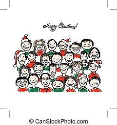 スケッチ, グループ, 人々, クリスマス, デザイン, パーティー, あなたの