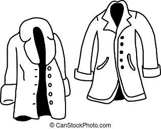 スケッチ, コート, 隔離された, イラスト, 手, ベクトル, 背景, 引かれる, 白