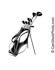スケッチ, ゴルフバッグ, 隔離された, 手, バックグラウンド。, 黒, 引かれる, 白