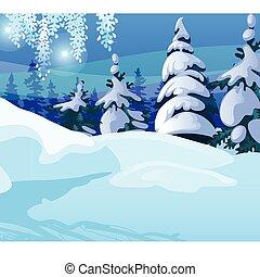 スケッチ, サンプル, 年, トウヒ, 冬, カード, cartoon., 雪が多い, パーティー, クリスマス, お祝い, ポスター, イラスト, 背景, 新しい, クローズアップ, 木, 挨拶, invitations., forest., ベクトル, ∥あるいは∥
