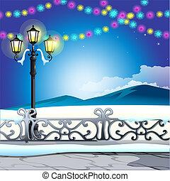 スケッチ, サンプル, 通り, 年, 冬, カード, 型, お祝い, ランプ, パーティー, クリスマス, カラフルである, 雪が多い, ポスター, 背景, 新しい, 丘, illustration., 挨拶, invitations., ベクトル, garlands., ∥あるいは∥