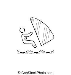 スケッチ, サーフィン, icon., 風