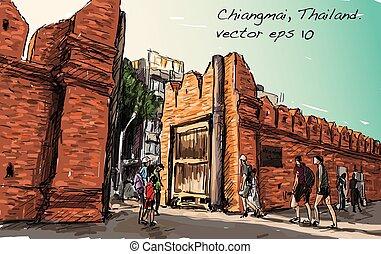 スケッチ, ショー, chiangmai, aisa, イラスト, ベクトル, タイ, 相続財産, 都市の景観, phae, gaet, tha