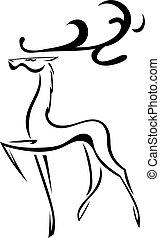 スケッチ, シルエット, isolated., 鹿, 大きい, ベクトル, antlers.