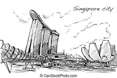 スケッチ, シンガポール, ドロー, 無料で, 手, ベクトル, イラスト, 都市の景観, スカイライン