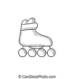 スケッチ, スケート, icon., ローラー