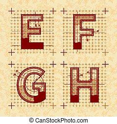 スケッチ, スタイル, e, g, f, h, 黄色, letters., ペーパー, レトロ, textured, 古い, 壷, 発明者