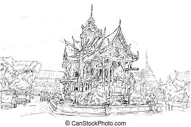 スケッチ, スペース, ショー, スタイル, アジア, ベクトル, イラスト, タイ, 都市の景観, 寺院