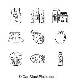 スケッチ, セット, アイコン, 食物, スタイル, ベクトル