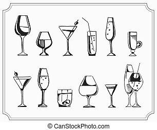 スケッチ, セット, アルコール, イラスト, 手, ベクトル, 引かれる, cocktails., 飲み物