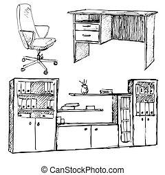 スケッチ, セット, オフィス, furniture., 隔離された, イラスト, バックグラウンド。, ベクトル, 椅子, ワードローブ, 白, style., テーブル