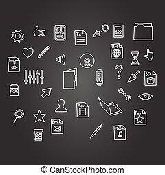 スケッチ, セット, ビジネス, misc, スタイル, 手, カーソル, コンピュータ, 黒, 板, ファイル, 技術, 図画, アイコン