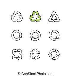 スケッチ, セット, 再使用, いたずら書き, シンボル, 隔離された, ベクトル, リサイクルしなさい, 白